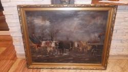 Szekér elé befogott ökrök olaj-vászon festmény