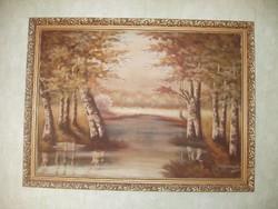 Erdőrészlet, szignózott nagyméretű festmény
