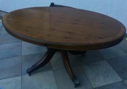 A fa természetes mintájával, gorgős, fémkarmos asztal, kb.110x70x60