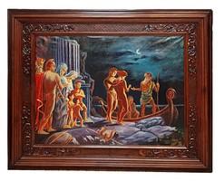 Faragott bécsi-barokk keretes szignós nagyméretű olajfestmény