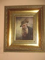 Tóth Tibor  festőművész pipás portréja  32x28  16x12 cm