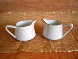 2 db nagyon régi fehér Zsolnay porcelán tejszínkiöntő aranyozott széllel