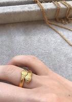 Aranyozott, matt kígyós vintage gyűrű állítható