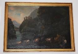 Osztrák festőművész  XVIII. század - olajfestmény, kerete elveszett szállítás közben!