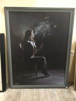 Csanálosi Tibor Cigarettázó nő 2009 es alkotása.Kép,pasztel akt