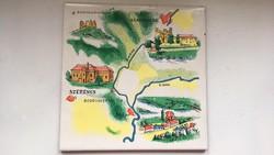 Bodrog és Tisza környékének térképét ábrázoló festett csempe