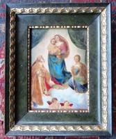 Raffaeli Santi Sixtusi Madonna c. képének másolata, olaj, fa, 24x30, 20,5x14,5 cm