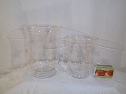 Glass - 2 pieces - large - with milled stars - candle holder - 15 x 11 cm- 12 x 9 cm flawless