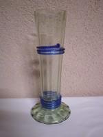 Antik,talpas üveg váza,jelzett