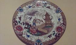 Antik porcelánfajansz süteményes tányér