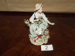 Sitzendorf német porcelán, virágos hölgy, sérült