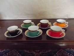 Hollóháza jelzésű porcelán. 6 Személyes kávés, teás készlet.