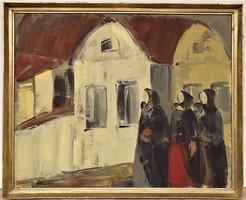 Sztankó Judit ( 1921- ? ) Falusi asszonyok c. olajfestménye 106x86cm EREDETI GARANCIÁVAL !!!