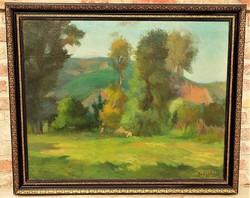 Benkhard Ágost (1882-1961) Napos tisztás c. olajfestménye 114x94cm eredeti GARANCIÁVAL !!!