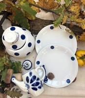 Kék pöttyösök - 2db tányér és 1db fokhagymatároló