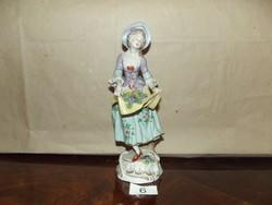 Sitzendorf német porcelán, szőlős hölgy