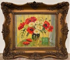 Ladányi Jószits Mária ( 1877- ? ) Virágcsendélet c. ANTIK festménye EREDETI GARANCIÁVAL !!!