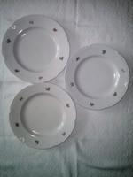 3 db Drasche porcelán lapos tányér