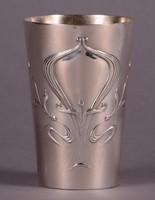 Ezüst szecessziós keresztelő pohár