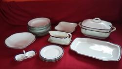 Régi különleges Epiag porcelán étkészlet arany és kék szegéllyel