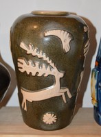 Retro szarvasos kerámia váza.