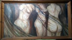 Kertesi Anna - Nézőpont ( olaj, farost, masszív keret, 54 x 100 )