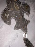 Ezüst-szürke,gyöngyös,hímzett karácsonyfadísz,dekorációs kellék