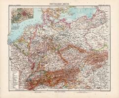 Német birodalom térkép 1904, német atlasz, nagy méret, 39 x 47 cm, eredeti, Justus Perthes, Berlin
