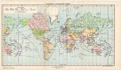 A gyarmatok és a világforgalom térképe 1907, atlasz, Kogutowicz Manó, magyar, világtérkép, térkép