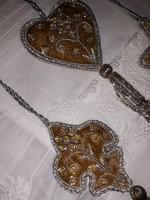 Óarany-ezüst,gyöngyös,díszköves karácsonyfadíszek-4 db
