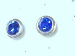Kék Topáz köves button 925 ezüst fülbevaló