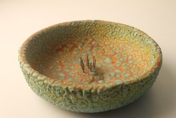 Retro ikebana tál , virágtartó , asztalközép