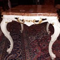 Antik barok rokoko kis asztalka márvány tetővel 53x53x40cm magas