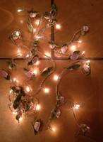 30 selyem világos rózsaszín virágos füzér karácsonyi dekoráció