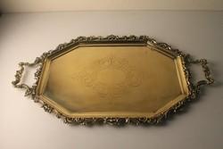 Díszes nagy réz tálca bronz díszítéssel