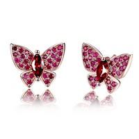 Pillangó fazonú, 925-s jelzésű, rózsaarany bevonatú fülbevaló, rubin kristályokkal