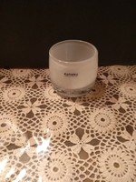 Kaheku üveg mécsestartó kézzel készített fehér tejüveg