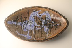 Retro kerámia kínáló tál , asztalközép , absztrakt díszítéssel