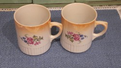 Antik Zsolnay Szoknyás Rózsás Bögre-Csésze 2 db