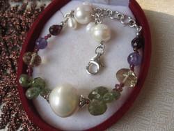 Ezüst karkötő turmalin, rubin, ametiszt, citrin, gránát, igazgyöngy - 925