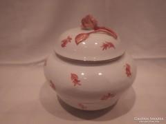Antik Herendi porcelán rózsás cukortartó