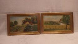 Varga olaj - fa tájkép festmény pár