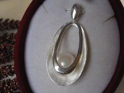 Art deco  ezüst medál, igazgyöngy - 925