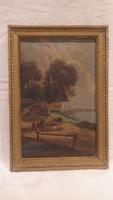 Varga olaj - karton festmény csónakos jelenet