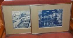 Két nagy litó, Rényi Krisztina jegyzett festőtől, mindkettő kék, és hibátlan!