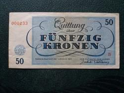 Ritka Theresienstadt 50 korona 1943 alacsony sorszám!!!