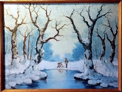 Vadászok a téli erdőben, nagyméretű  ( 76.5 x 58 ), jelzett, olajfestmény