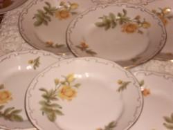 Zsolnay sárga rózsás  tányér  lapos  6 darab