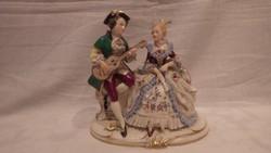 Frankenthal Német porcelán szobor Barokk zenész és csipkeruhás hölgy
