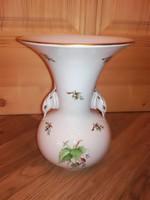 Herendi hecsedli, csipkebogyó porcelán mintás váza